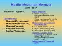 Матіїв-Мельник Микола (1890 – 1947) Письменник і журналіст. Псевдоніми: Микол...