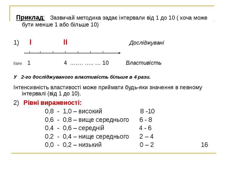Приклад: Зазвичай методика задає інтервали від 1 до 10 ( хоча може бути менше...