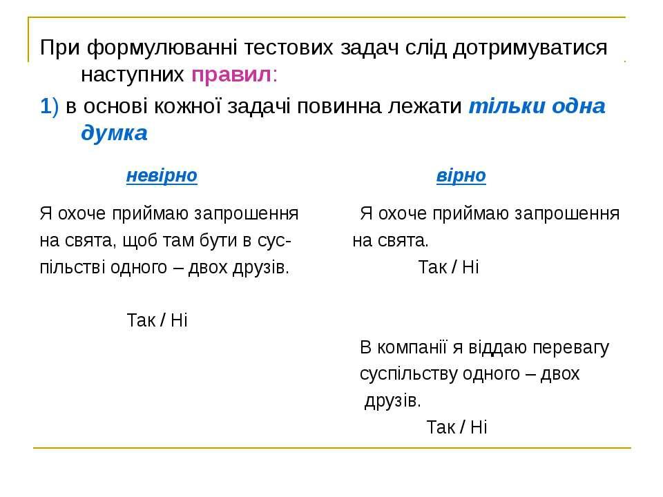 При формулюванні тестових задач слід дотримуватися наступних правил: 1) в осн...