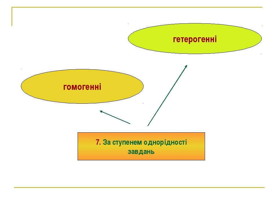 гомогенні гетерогенні 7. За ступенем однорідності завдань