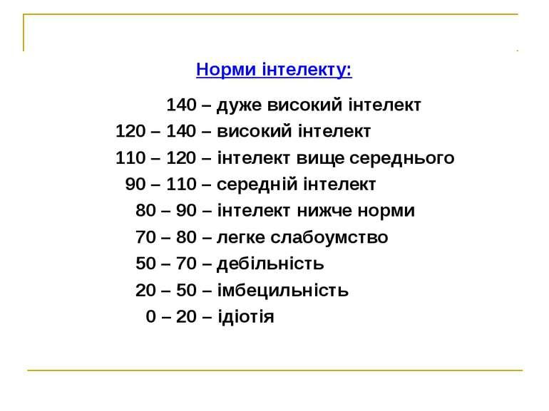 Норми інтелекту: 140 – дуже високий інтелект 120 – 140 – високий інтелект 110...