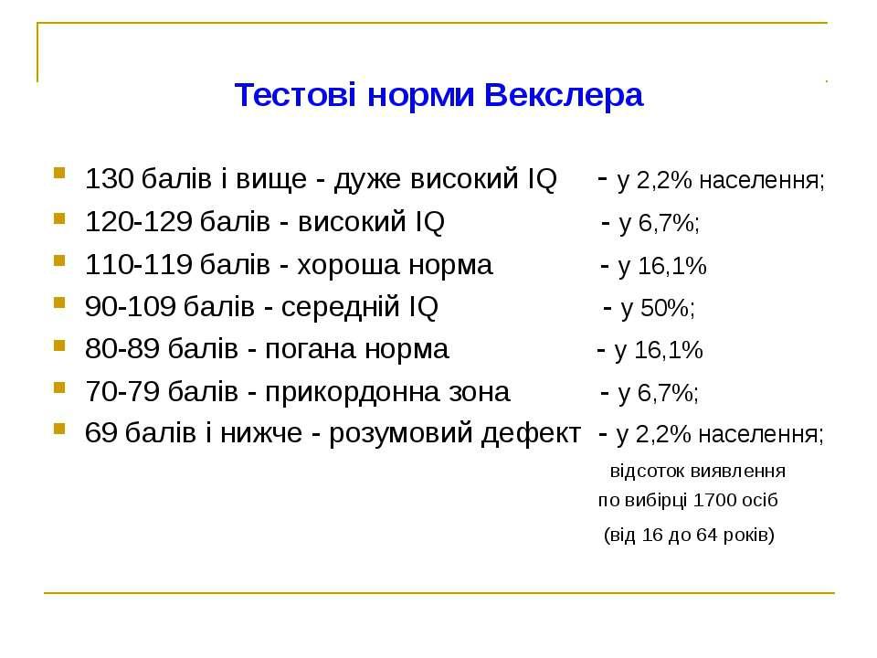 Тестові норми Векслера 130 балів і вище - дуже високий IQ - у 2,2% населення;...