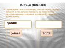 В. Вундт (1832-1920) Спрямовував свою дослідницьку увагу не лише на процес пі...