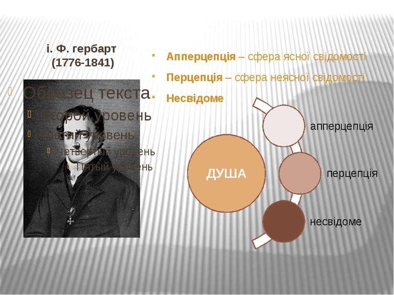 і. Ф. гербарт (1776-1841) Апперцепція – сфера ясної свідомості Перцепція – сф...