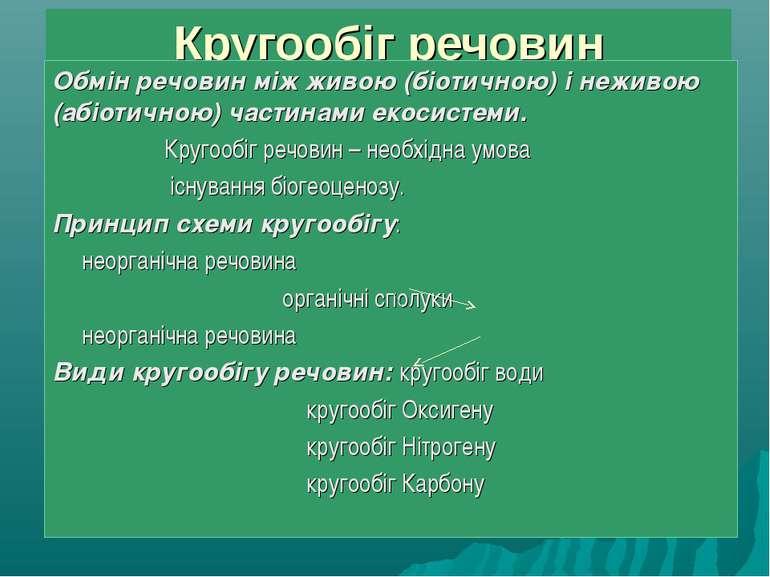 Кругообіг речовин Обмін речовин між живою (біотичною) і неживою (абіотичною) ...