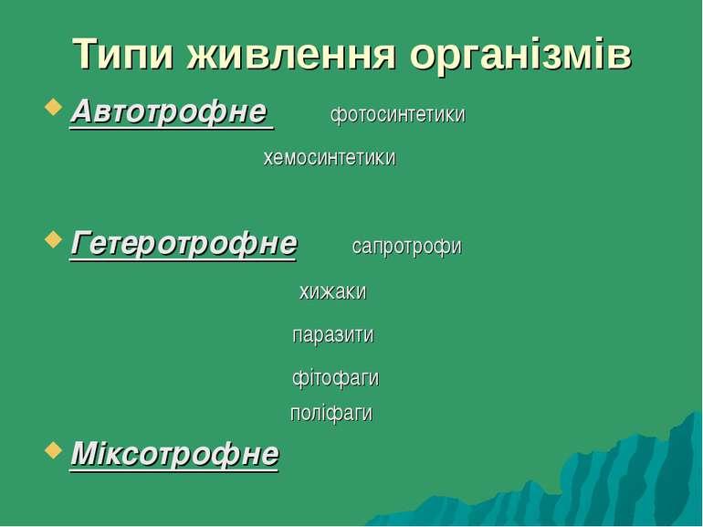 Типи живлення організмів Автотрофне фотосинтетики хемосинтетики Гетеротрофне ...