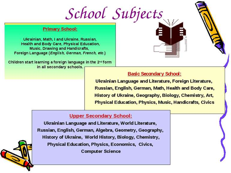 School Subjects Primary School: Ukrainian, Math, I and Ukraine, Russian, Heal...