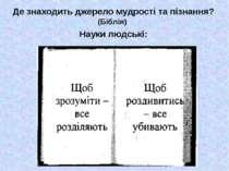 Де знаходить джерело мудрості та пізнання? Науки людські: (Біблія)