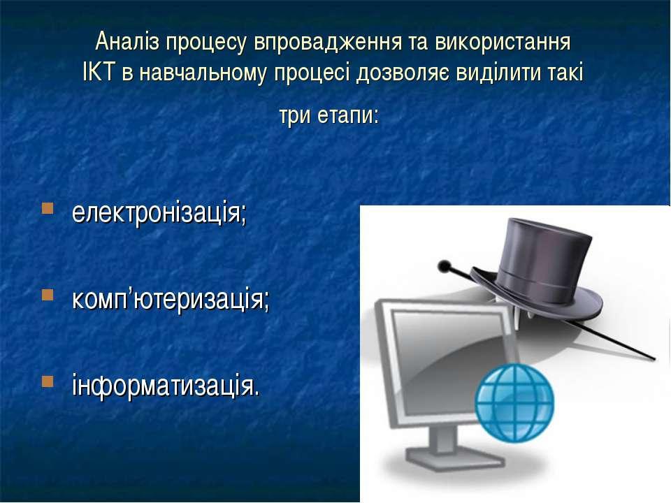 Аналіз процесу впровадження та використання ІКТ в навчальному процесі дозволя...