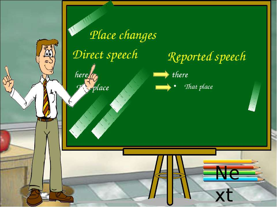 Place changes Direct speech Reported speech here there This place That place ...