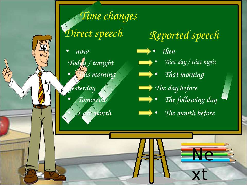 Time changes Direct speech Reported speech now then Today / tonight That day ...