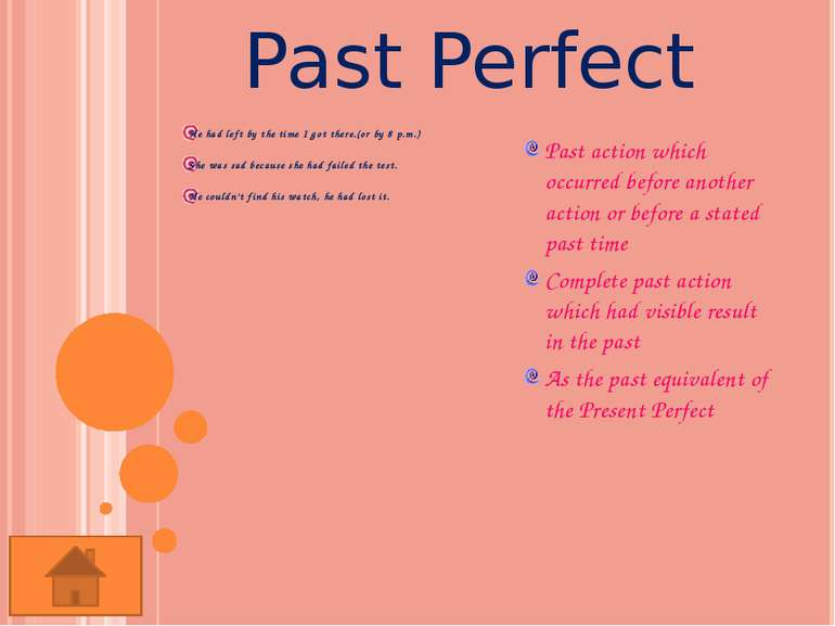 Past Perfect Continuous She had been working as a clerk fro 10 years before s...