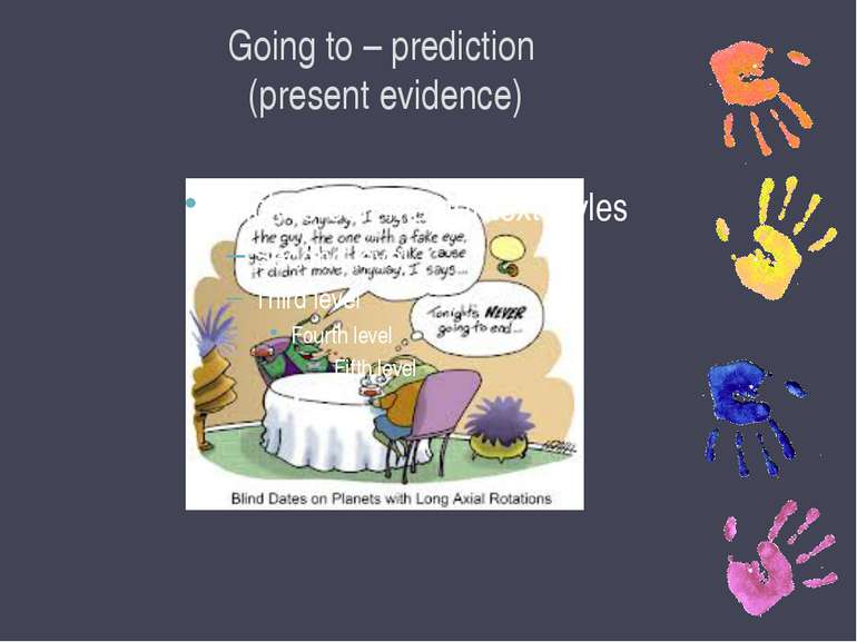 Going to – prediction (present evidence)