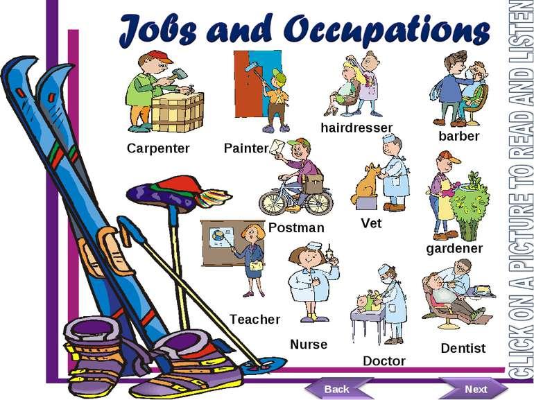 Painter hairdresser Postman Carpenter barber Teacher Vet gardener Nurse Docto...