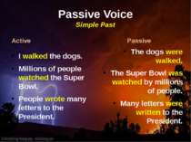 Passive Voice Simple Past Active I walked the dogs. Millions of people watche...