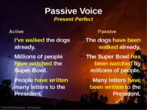 Passive Voice Present Perfect Active I've walked the dogs already. Millions o...