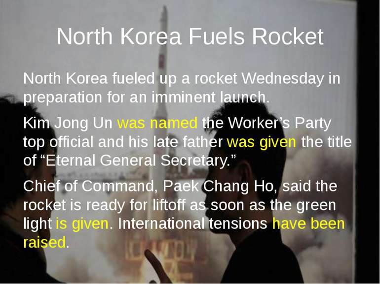 North Korea Fuels Rocket North Korea fueled up a rocket Wednesday in preparat...