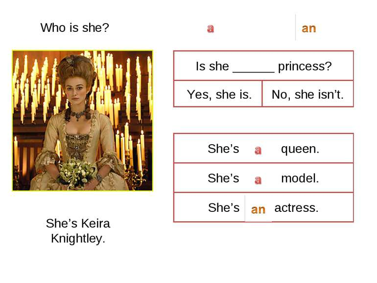 Who is she? She's Keira Knightley. Is she ______ princess? Yes, she is. No, s...