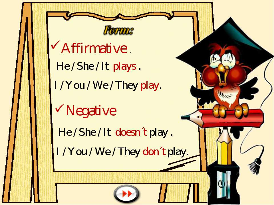 Affirmative . He / She / It plays . I / You / We / They play. Negative. He / ...