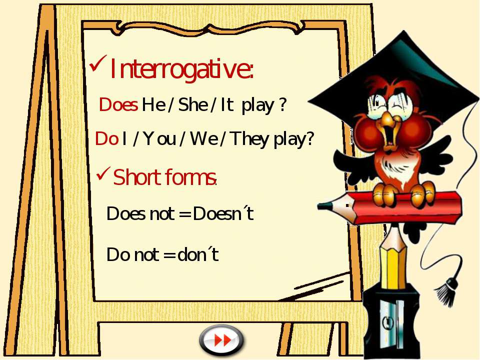 Interrogative: Does He / She / It play ? Do I / You / We / They play? Short f...