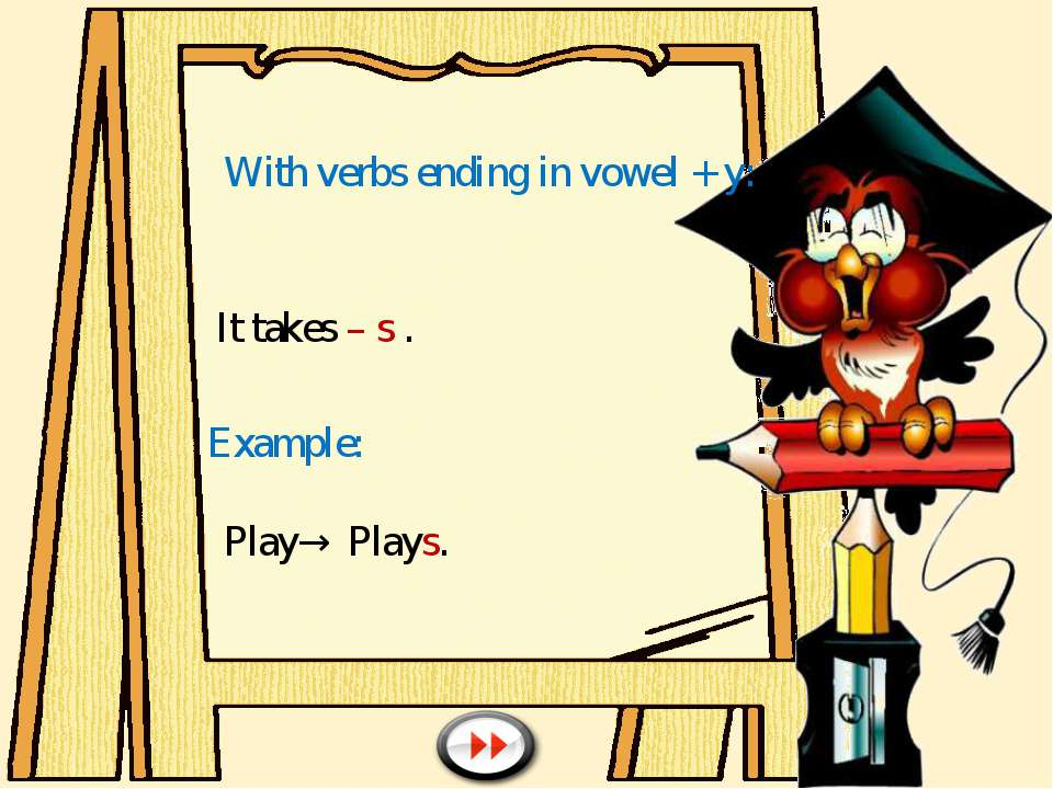 With verbs ending in vowel + y: It takes – s . Example: Play→ Plays.