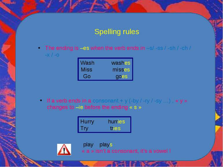 Spelling rules The ending is –es when the verb ends in –s/ -ss / -sh / -ch / ...