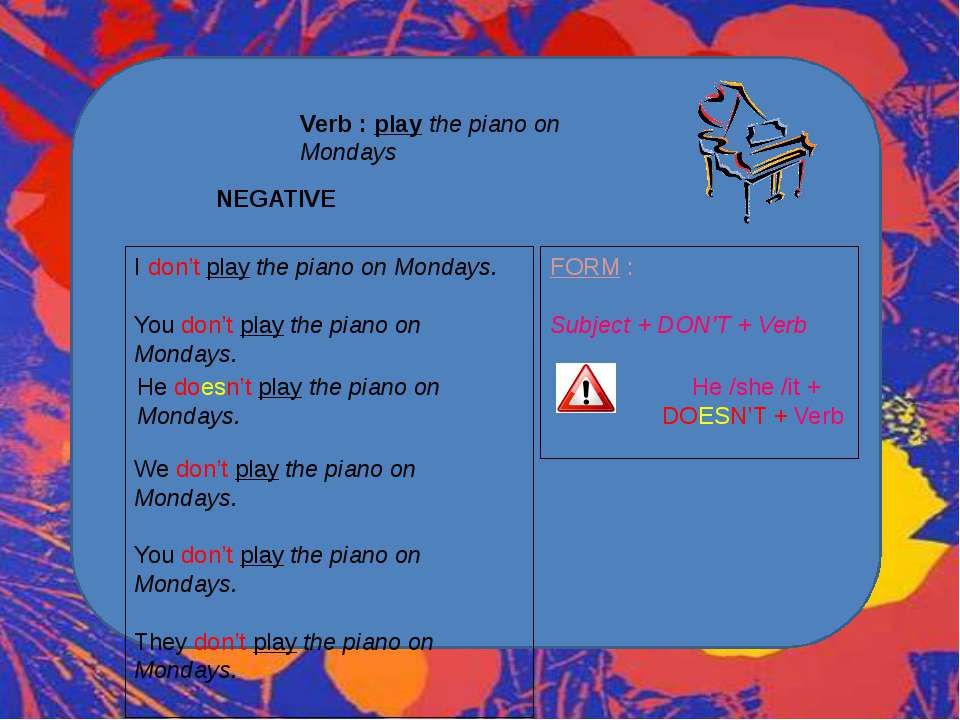 Verb : play the piano on Mondays NEGATIVE I don't play the piano on Mondays. ...