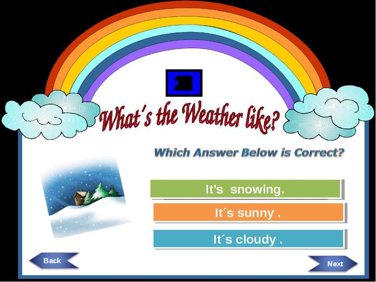 Try Again Try Again Great Job! It´s cloudy . It´s sunny . It's snowing. 30 29...