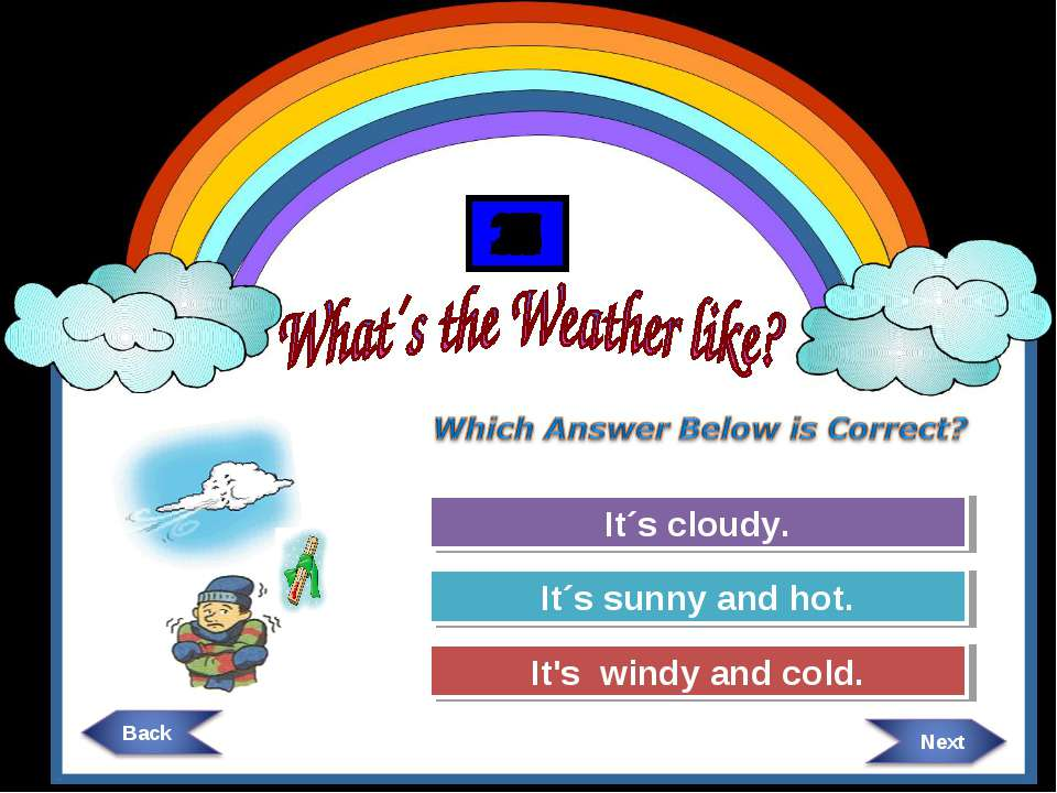 Try Again Try Again Great Job! It´s cloudy. It´s sunny and hot. It's windy an...