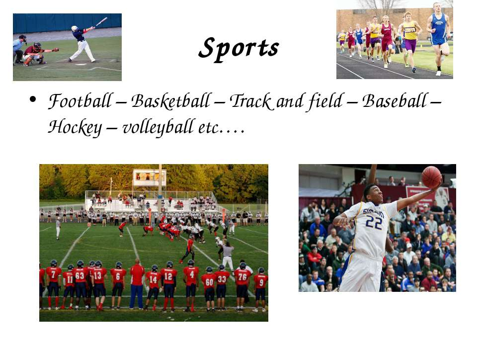Sports Football – Basketball – Track and field – Baseball – Hockey – volleyba...
