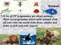 Animals A lot of TV programmes are about animals. There are programmes about ...