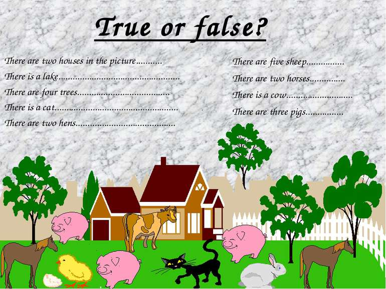 True or false? There are two houses in the picture........... There is a lake...