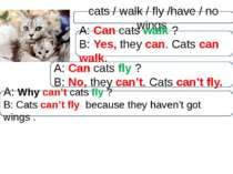cats / walk / fly /have / no wings A: Can cats walk ? B: Yes, they can. Cats ...
