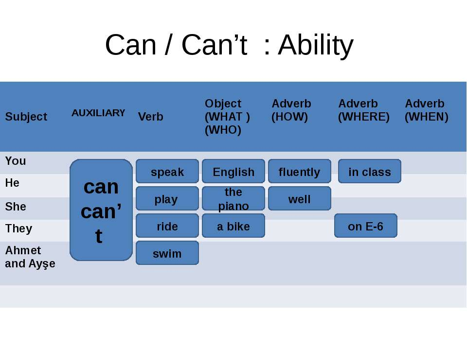 Can / Can't : Ability can can't speak fluently in class English the piano pla...