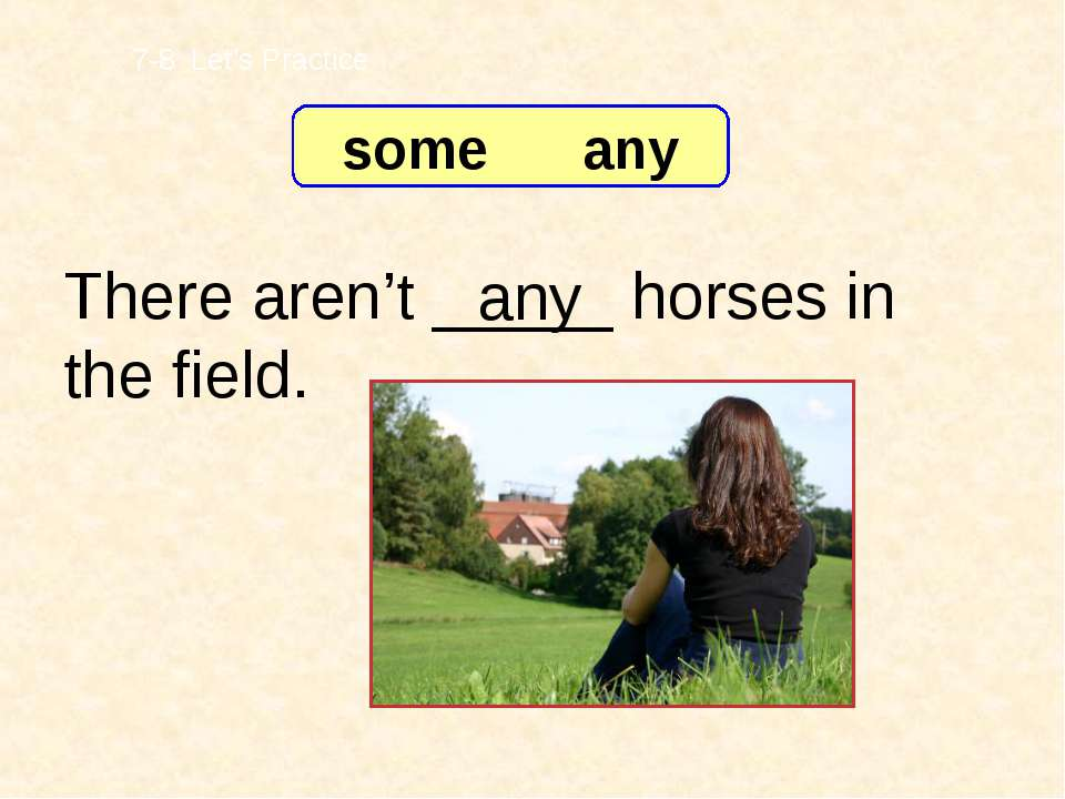 There aren't _____ horses in the field. any 7-8 Let's Practice some any
