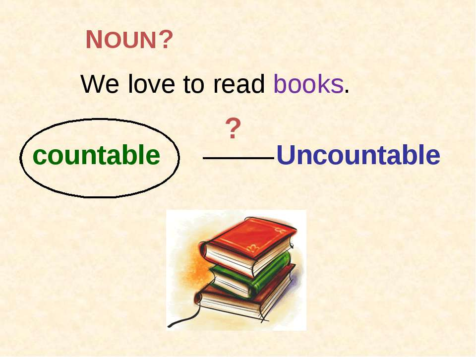 We love to read books. countable Uncountable ? ? NOUN