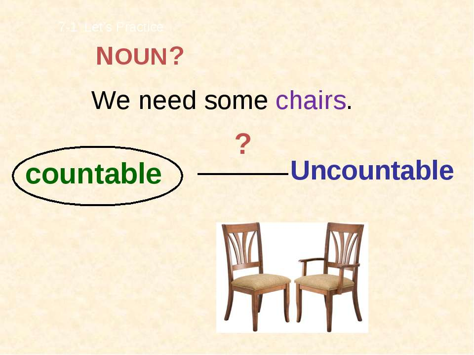We need some chairs. countable Uncountable 7-1 Let's Practice ? ? NOUN