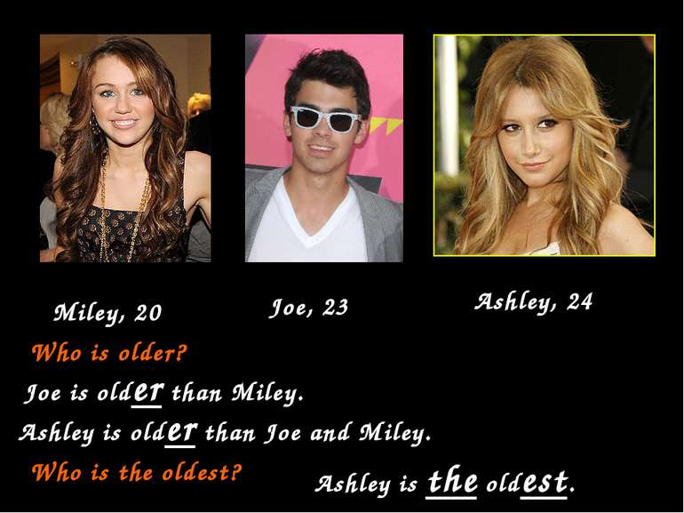 Joe, 23 Miley, 20 Ashley, 24 Who is older? Joe is older than Miley. Ashley is...