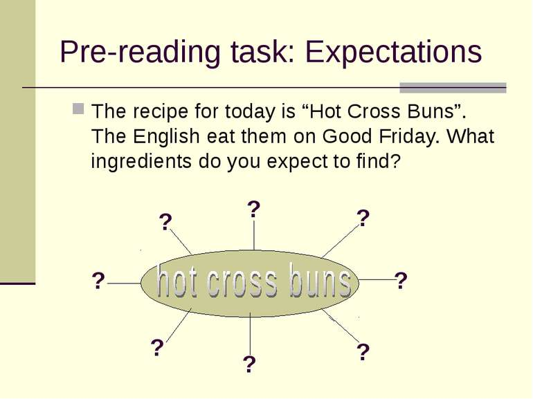 "Pre-reading task: Expectations The recipe for today is ""Hot Cross Buns"". The ..."