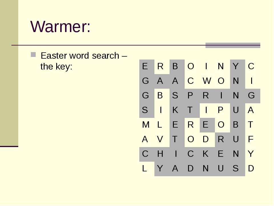 Warmer: Easter word search – the key: E R B O I N Y C G A A C W O N I G B S P...