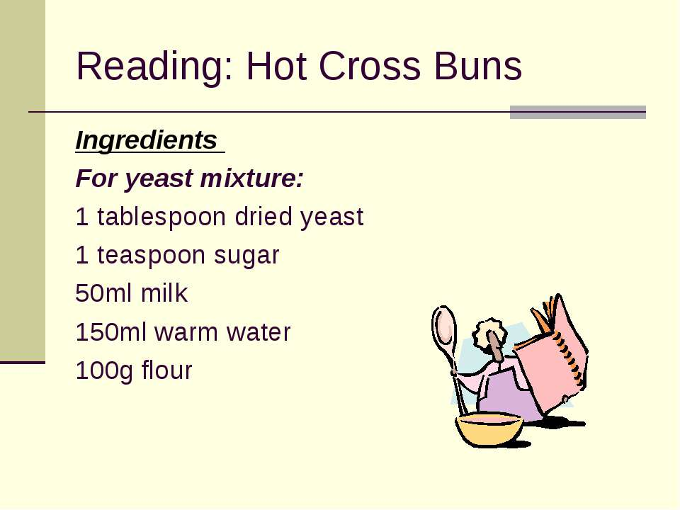Reading: Hot Cross Buns Ingredients For yeast mixture: 1 tablespoon dried yea...