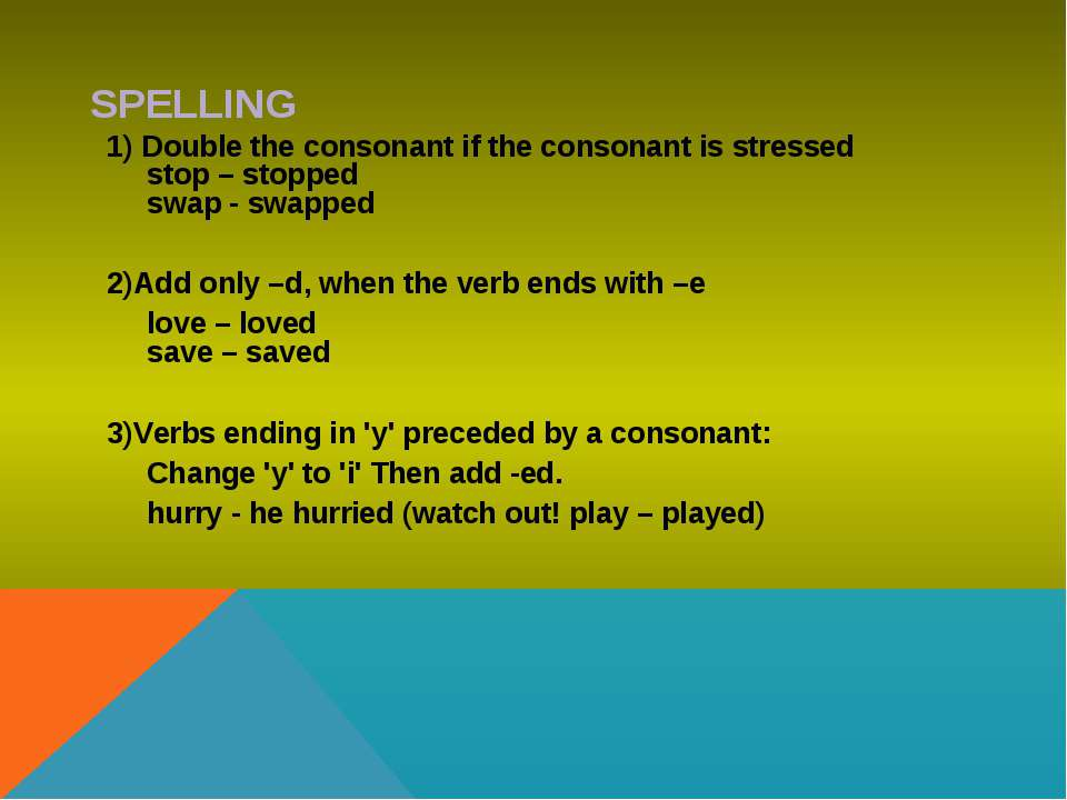SPELLING 1) Double the consonant if the consonant is stressed stop – stopped ...