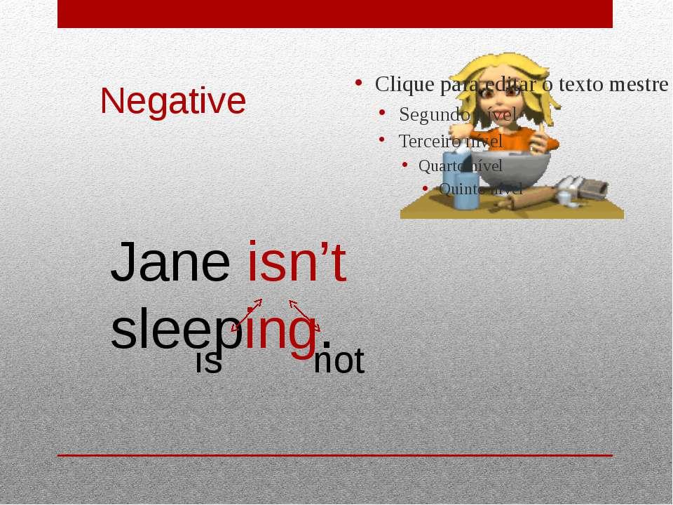 Negative Jane isn't sleeping. is not