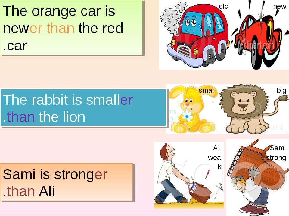 The orange car is newer than the red car. The rabbit is smaller than the lion...