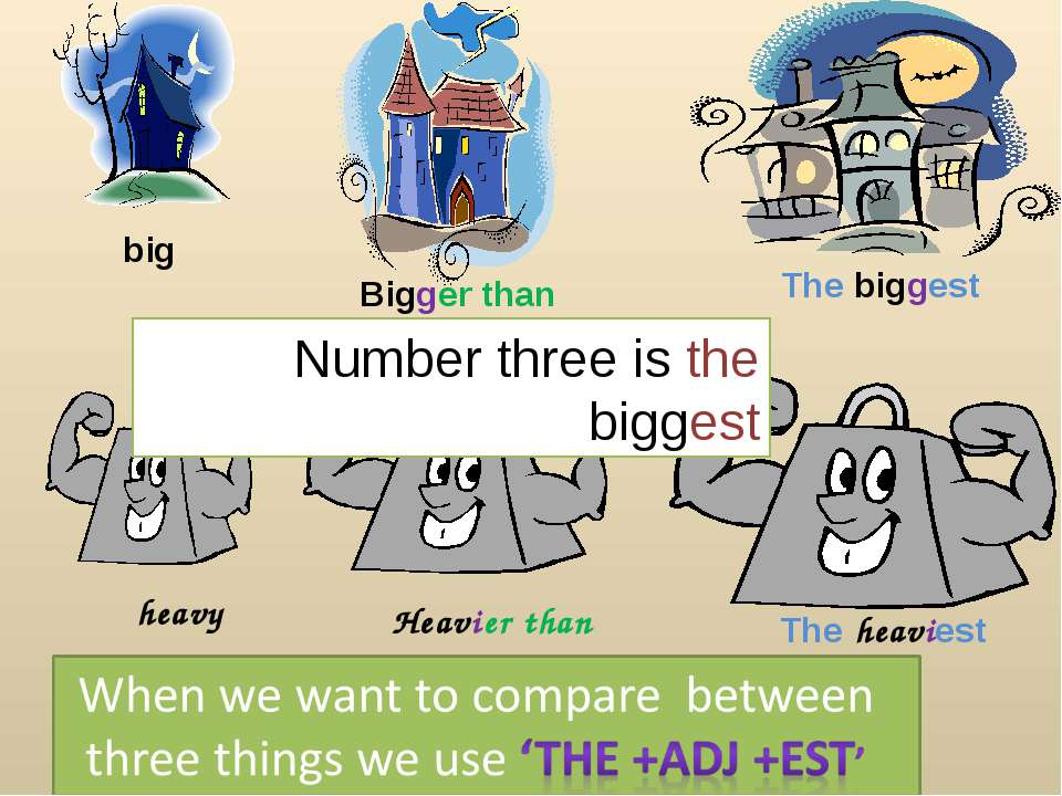 Bigger than big The biggest heavy Heavier than The heaviest Number three is t...