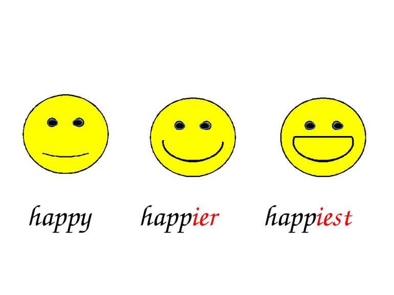 happy happiest happier