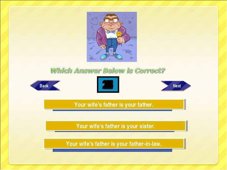 Try Again Try Again Great Job! Your wife's father is your father-in-law. Your...