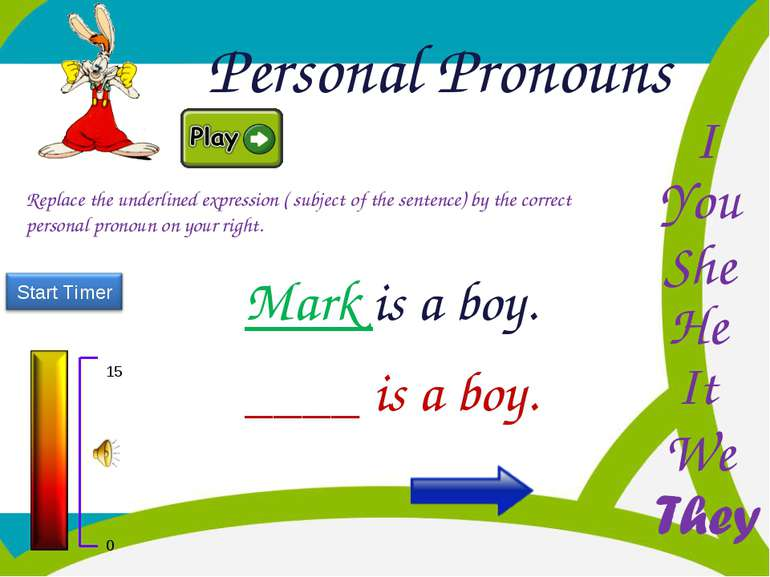 Personal Pronouns He You I She It We Replace the underlined expression ( subj...