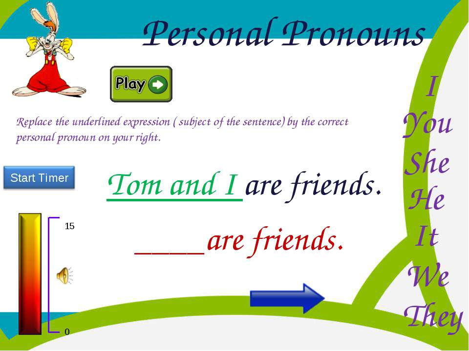 Personal Pronouns He You I She It We They Replace the underlined expression (...