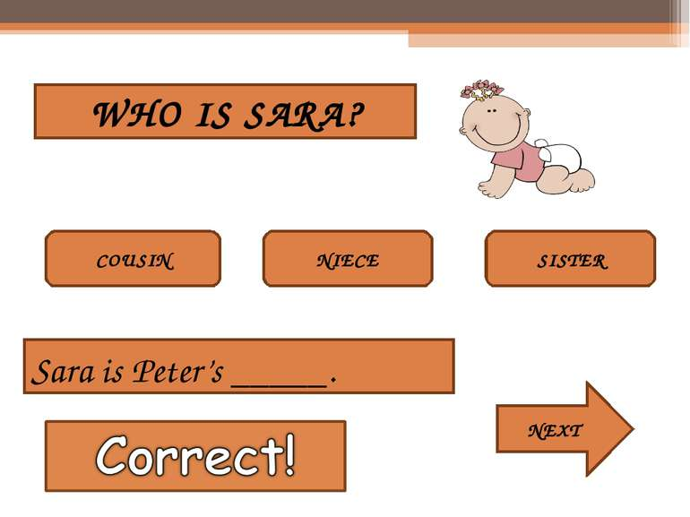 WHO IS SARA? COUSIN NIECE SISTER Sara is Peter's _____. NEXT